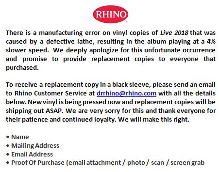Statement from Rhino Records regarding STP 'Live 2018' Vinyl
