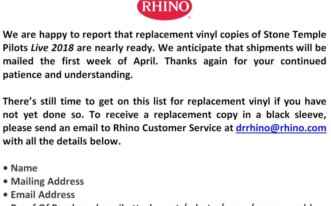 Update from Rhino Records regarding 'STP Live 2018' Vinyl
