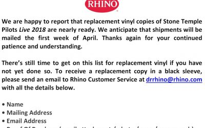 Update from Rhino Records regarding 'STP Live 2018' Vinyl